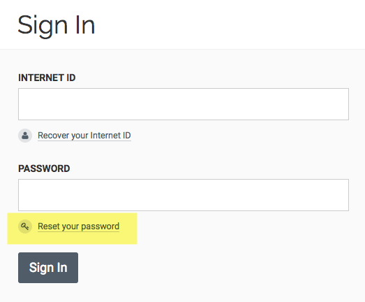 "Sign in page with ""Reset your Password"" highlighted"