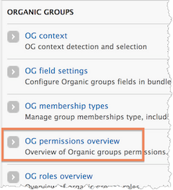 The Organic Groups menu. The menu includes OG context, OG field settings, OG membership types, OG permissions overview, and OG roles overview. The OG permissions overview option is highlighted.