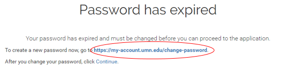 password has expired message with a circle around the link to click to reset your password