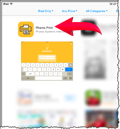 The Apps Store with the Pharos Print app highlighted.