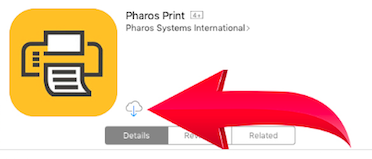 The Pharos Print app in the App Store with the Download icon highlighted.
