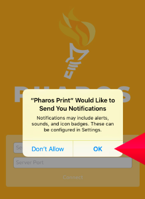 """Pharos Print notification pop-up. Your options are either """"Don't Allow"""" and """"OK."""""""