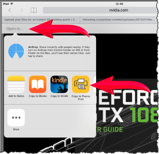 """An IOS device with the """"Open with..."""" option highlighted."""