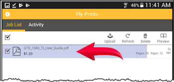 The Pharos Print interface with the cost of your print job highlighted.