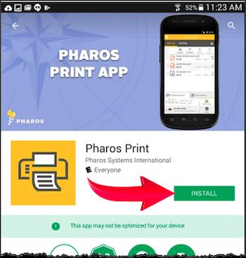 Pharos Print install button