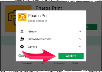 Pharos Print with the Accept button highlighted.