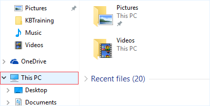 File Explorer menu. This PC on the left hand menu is highlighted.