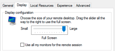 Remote desktop window. Show options clicked to expand options. Display menu.