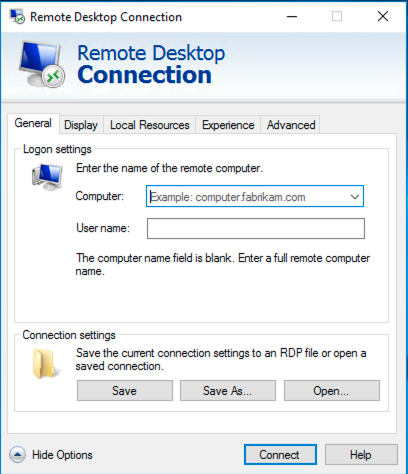Remote desktop connection window open. Show Options clicked to expand options