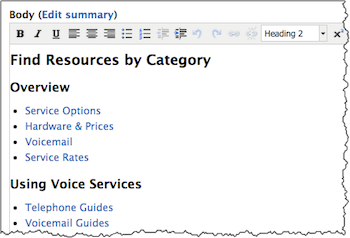 Screenshot of the Body field in Drupal where Find Resources by Category would be entered.