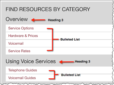 Screenshot of a Find Resources by Category List on the IT@UMN website