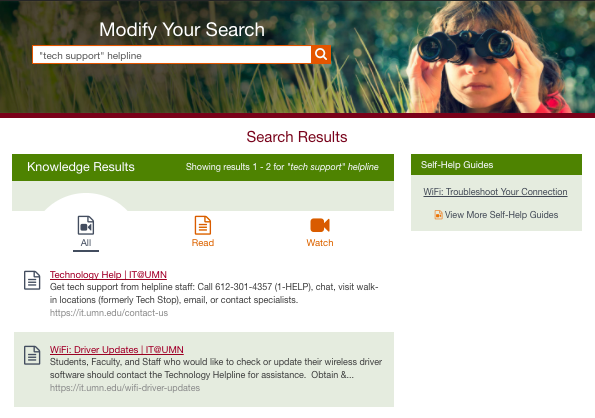 """first two IT@UMN site search results for """"'tech support' helpline"""""""