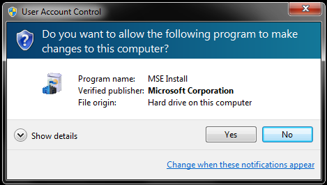 MSE installation Wizard: Do you want to allow changes?