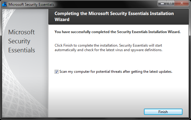Completing the Microsoft Security Essentials Installation Wizard