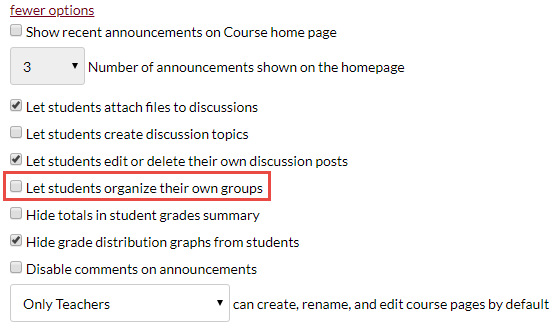 more options section of course details tab with unchecked option let students organize their own groups highlighted