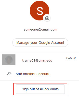 Google account drop-down menu; sign out of all accounts button highlighted
