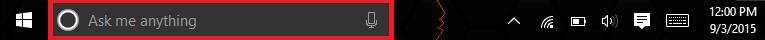 Windows 10 taskbar, shortened. The Cortana search box is highlighted.