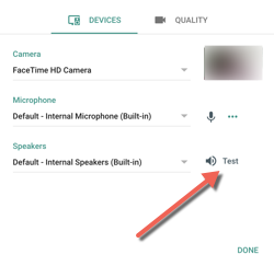 Hangouts test screen with arrow pointing towards the test button