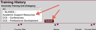 Training History report showing University Training Unit (Category) pick list in upper left and arrow pointing towards the associated Submit button.