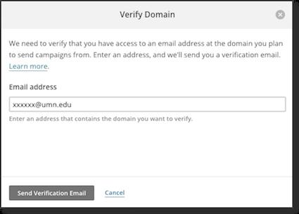 Mailchimp Verify Domain pop-up window