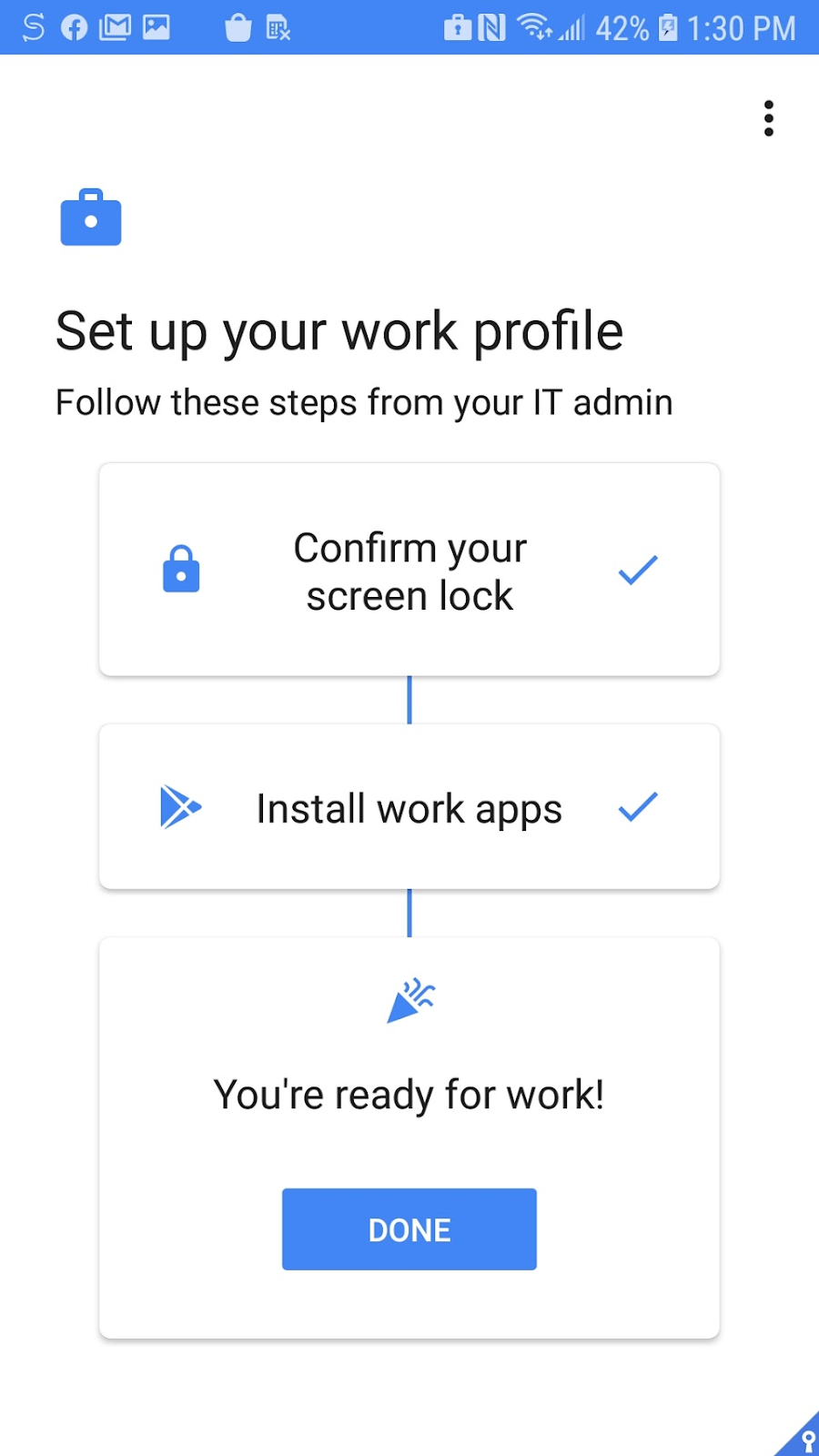 Android screen, You are ready to work
