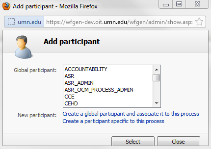WorkflowGen Add participant area