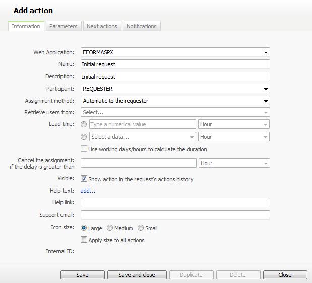 WorkflowGen Add action screen