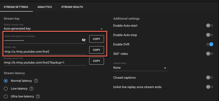 Image of Stream setup help window with step two's Steam key and Stream URL highlighted