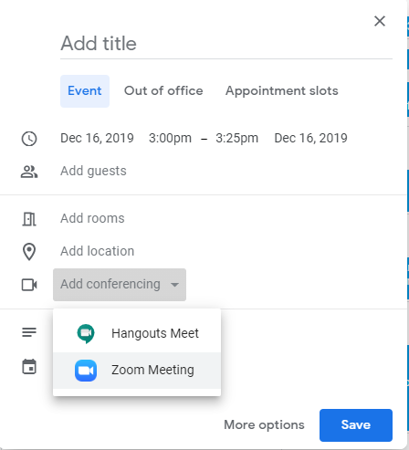 Google calendar event. Add conferencing dropdown selected. Zoom meeting highlighted.