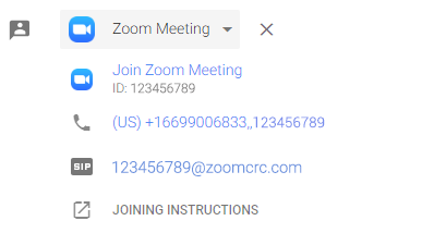 Zoom meeting details and joining options.