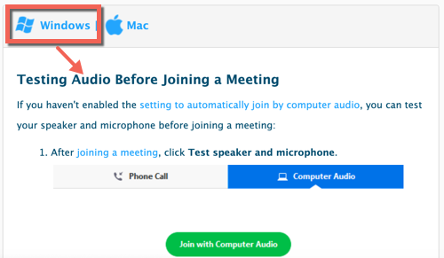 Zoom help center test audio page. Windows system selected and instructions displayed for testing audio before joining a meeting.
