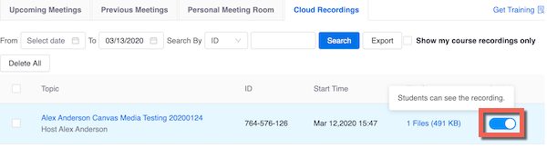 "Zoom in canvas Cloud recordings. Publish toggled on and highlighted with help text ""Studnts can see the recording"""