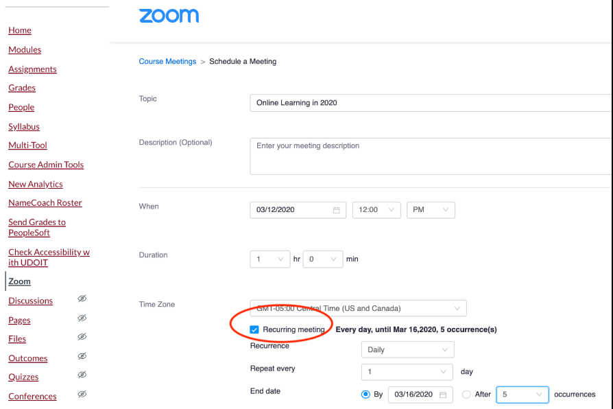 Zoom in canvas meeting with completed details. Recurring meeting highlighted