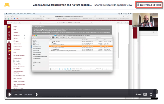 Zoom recording example. Download (3 files) highlighted.