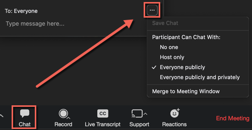 Zoom meeting. Chat icon selected. Chat window settings highlighted. Options Save Chat, Participant can chat with: no one, host only, everyone publicly (checked), everyone publicly and privately