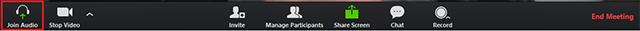 screenshot highlighting the Join Audio button in the Zoom toolbar