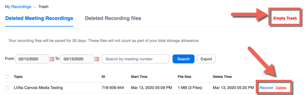 Deleted Meetings Recordings tab with arrows pointing to Empty Trash and Recover / Delete options