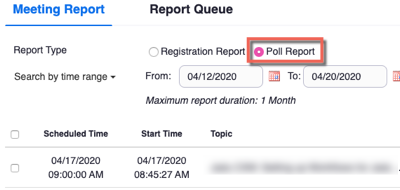 Zoom reports, usage reports for a meeting tab. Poll report selected with meetings displayed that have poll results available.
