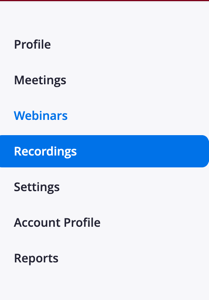 recordings option highlighted